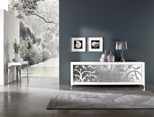 madia moderna Picasso con anta intarsio in foglia argento