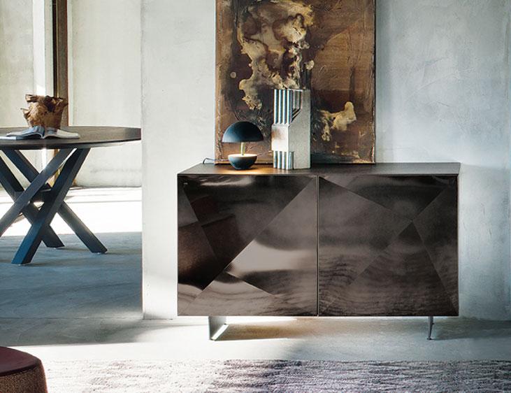 credenza cubric anta titanio top legno