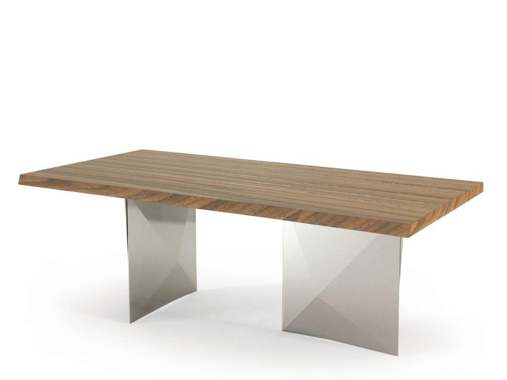 tavolo cubric riflessi piano scortecciato e piede acciaio inox