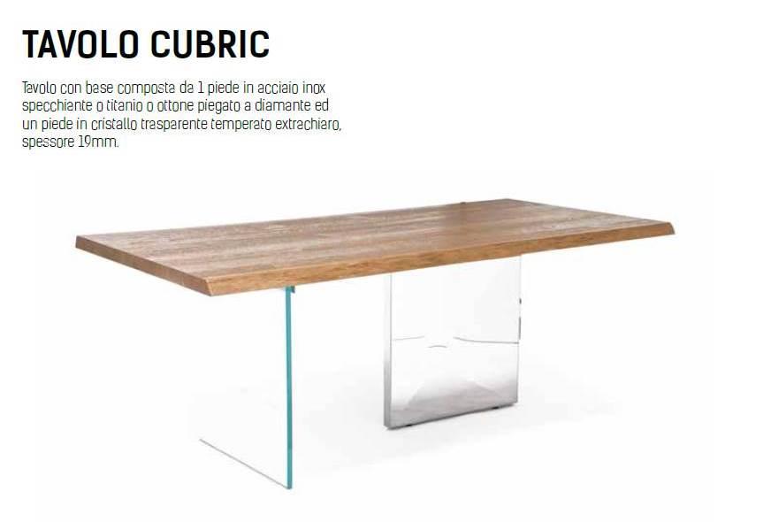 tavolo cubric riflessi legno scortecciato