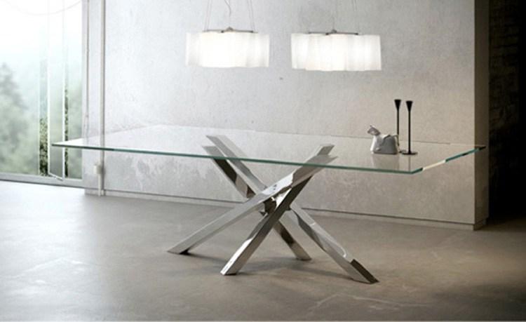 tavolo shangai piano in cristallo e base acciaio inox specchiante