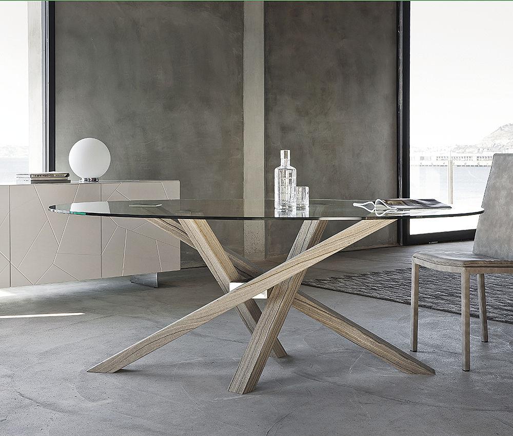 Tavolo da pranzo in legno o vetro shangai riflessi for Tavoli in cristallo e acciaio