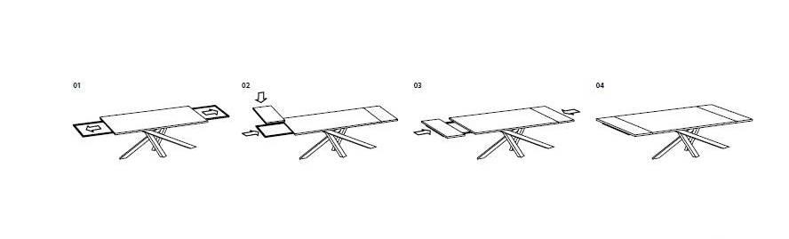 Il tavolo shangai riflessi con gambe in acciaio pietra o legno - Tavolo riflessi shangai allungabile ...