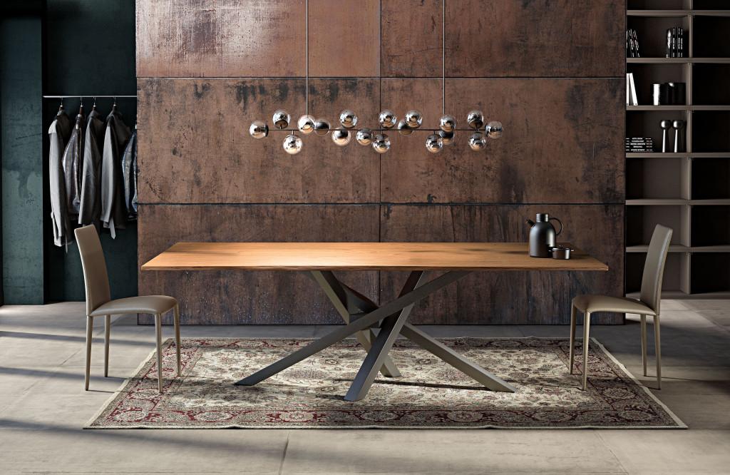 shangai riflessi tavolo in legno sottile e base grafite