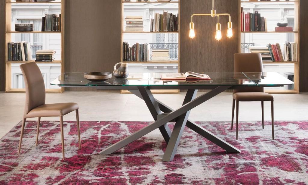 tavolo shangai riflessi in vetro allungabile