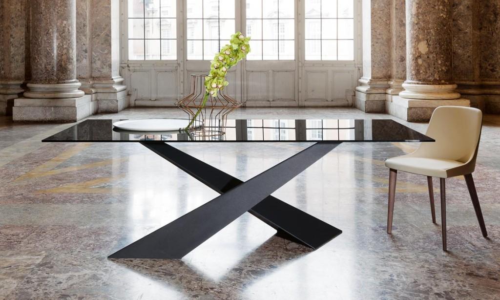 tavolo living riflessi con piano in legno o vetro