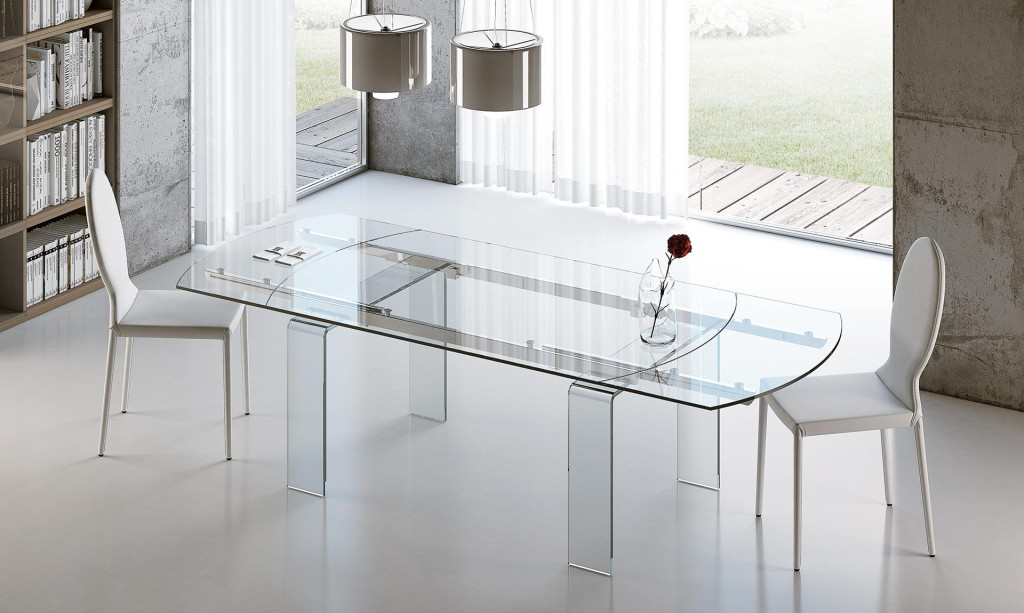 tavolo lord riflessi ovale in vetro