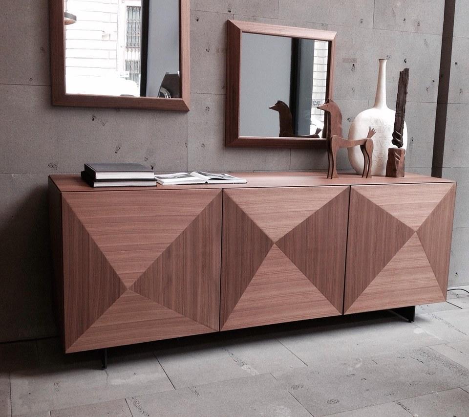 madia cubric riflessi con anta in legno effetto diamante